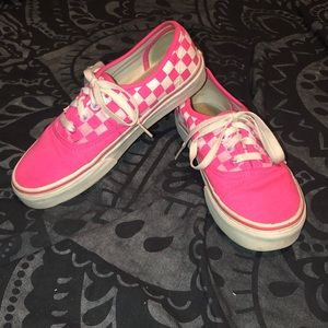 Vans neon pink and white checker women's 7.5